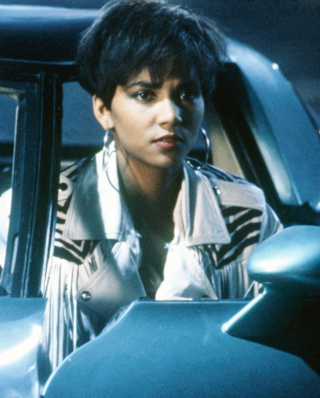 Fringe, Fringe, Fringe No one can pull off a fringed leather jacket and huge hoop earrings like Halle. It's an outfit she donned in the 1991 film The Last Boy Scout , in which she acted alongside Bruce Willis and Damon Wayans.