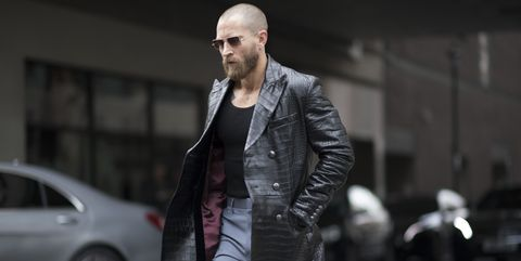 Street fashion, Black, Fashion, Jacket, Standing, Jeans, Leather jacket, Leather, Footwear, Beard,