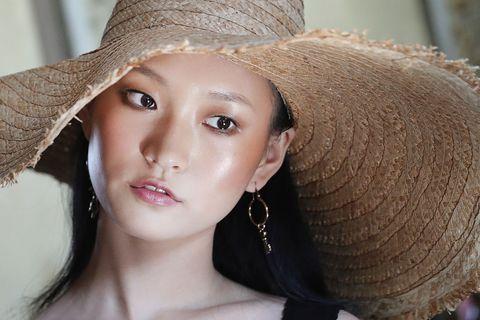Hair, Face, Clothing, Hat, Lip, Skin, Beauty, Sun hat, Fashion accessory, Blond,