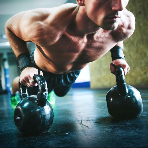 Weights, Exercise equipment, Physical fitness, Kettlebell, Muscle, Sports equipment, Arm, Chest, Crossfit, Press up,