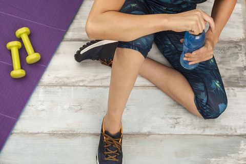 woman with sports drink