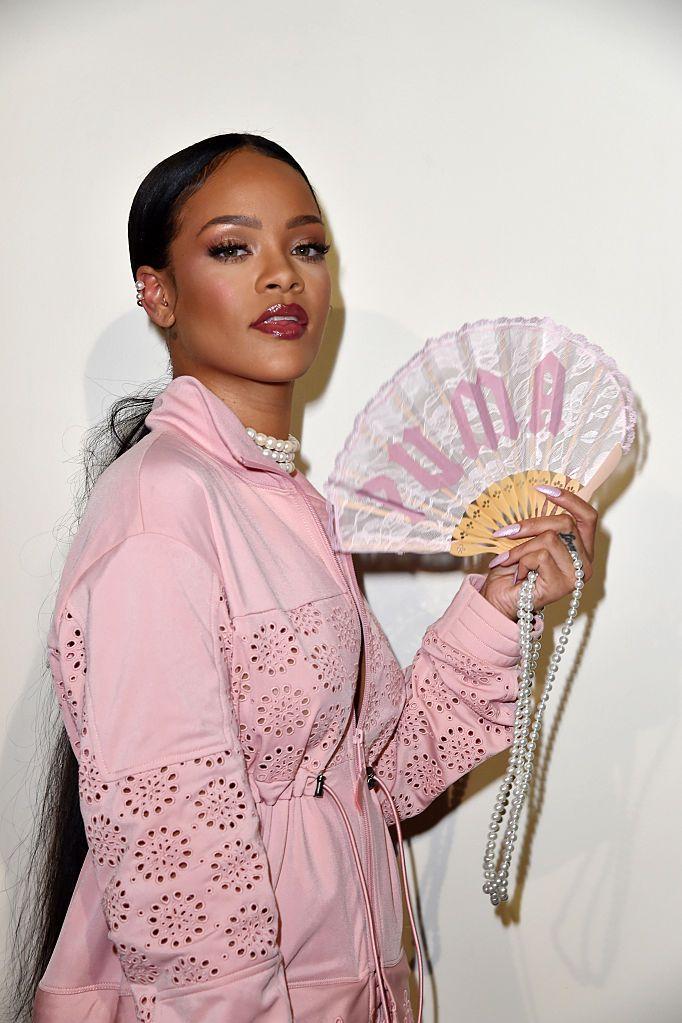 Rihanna backstage for FENTY X PUMA in Paris