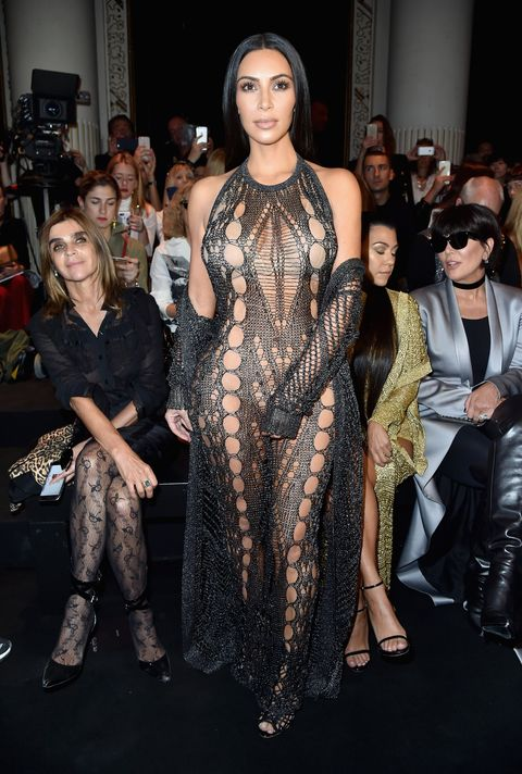 Kim Kardashian Wears Black Fishnet Jumpsuit Kim Goes Braless In