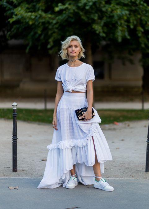 White, Clothing, Photograph, Street fashion, Blue, Dress, Fashion, Beauty, Shoulder, Footwear,