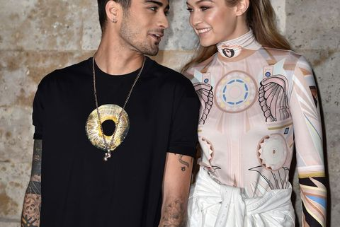 paris, france   october 02  zayn malik and gigi hadid attend the givenchy show as part of the paris fashion week womenswear  springsummer 2017  on october 2, 2016 in paris, france  photo by pascal le segretaingetty images