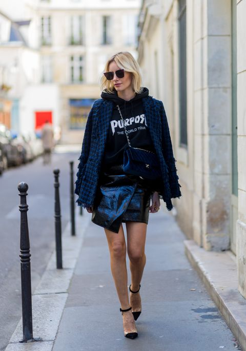 Clothing, Street fashion, Fashion, Black, Blue, Electric blue, Cobalt blue, Outerwear, Fashion model, Snapshot,