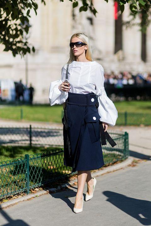 Clothing, White, Street fashion, Photograph, Fashion, Shoulder, Snapshot, Footwear, Waist, Pencil skirt,