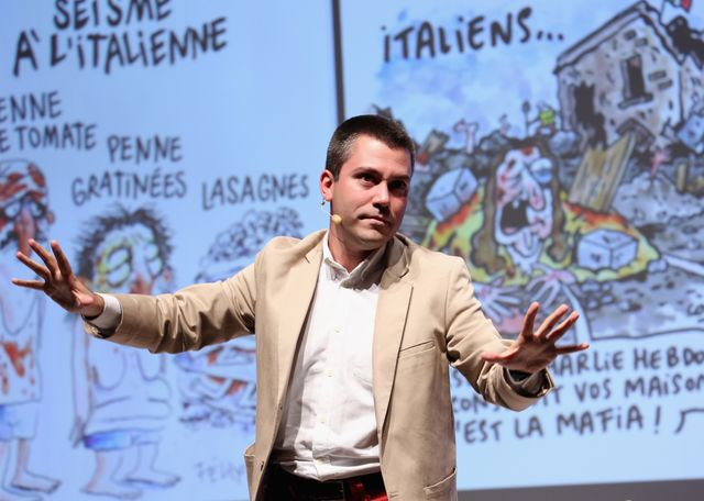 milan, italy   october 08  saverio raimondo speaks onstage during the if italians festival 2016 at franco parenti theater on october 8, 2016 in milan, italy  photo by vincenzo lombardogetty images for italians festival