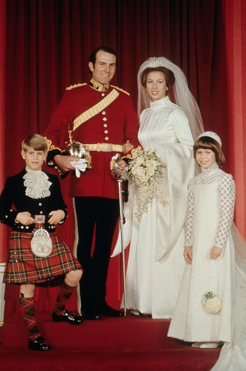 princess anne on her wedding day with her husband mark phillips, her younger brother prince edward, and cousin lady sarah armstrong jones photo by © hulton deutsch collectioncorbiscorbis via getty images