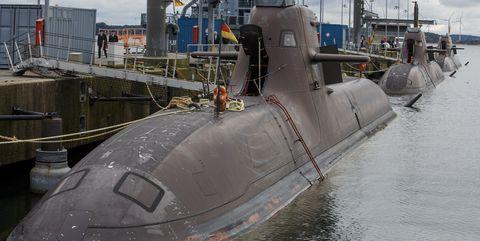 U-33, U-34, and U-36 pierside in Eckernfoerde, Germany.