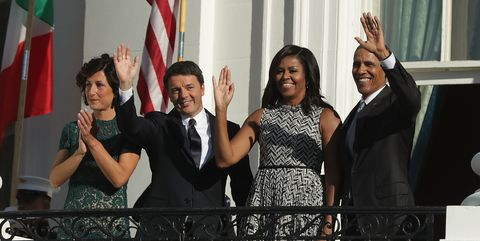 Barack Obama and Michelle Obama with Matteo Renzi and Agnese Renzi