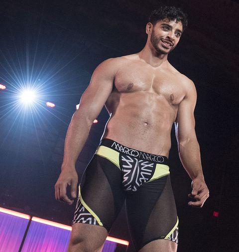 Barechested, Underpants, Clothing, Briefs, Undergarment, Undergarment, Wrestler, Muscle, Swim brief, Thigh,