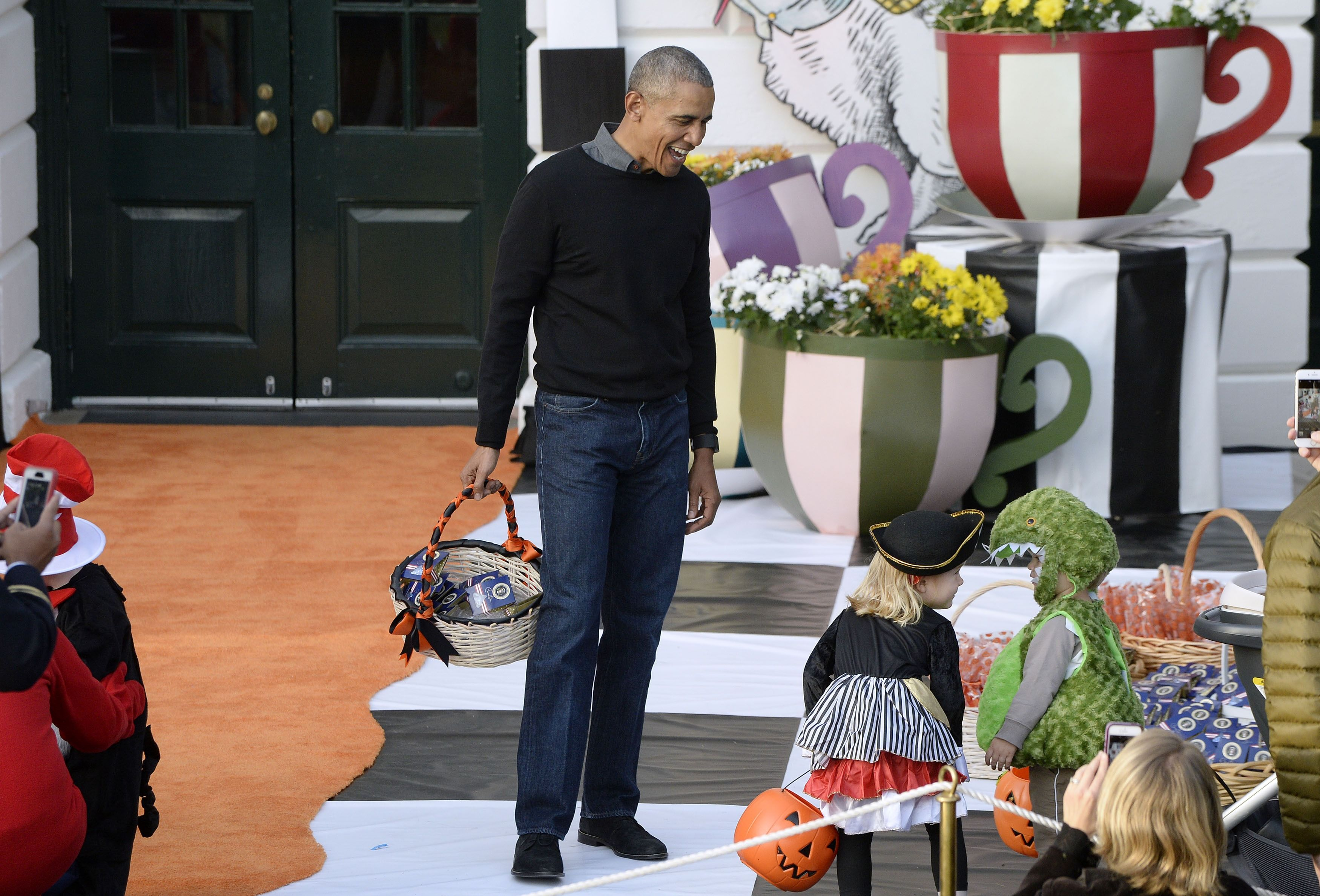 President Barack Obama at a Halloween event at the White House October 31, 2016 in Washington, D.C.