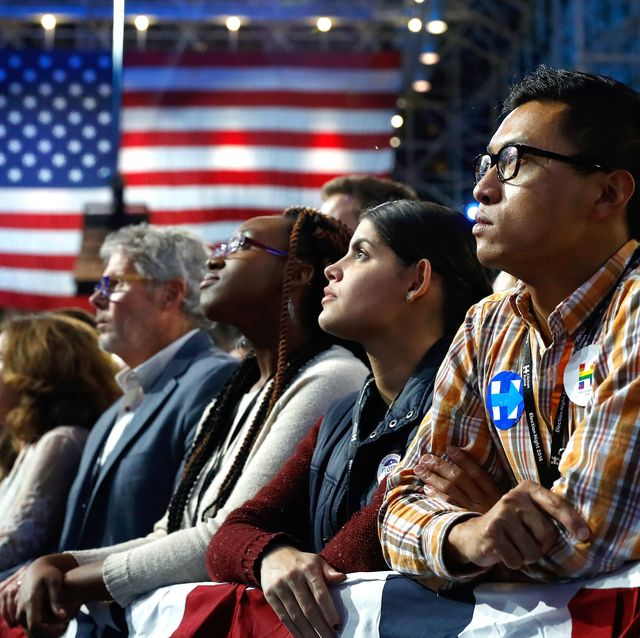 on election night at the jacob k javits convention center november 8, 2016 in new york city clinton is running against republican nominee, donald j trump to be the 45th president of the united states