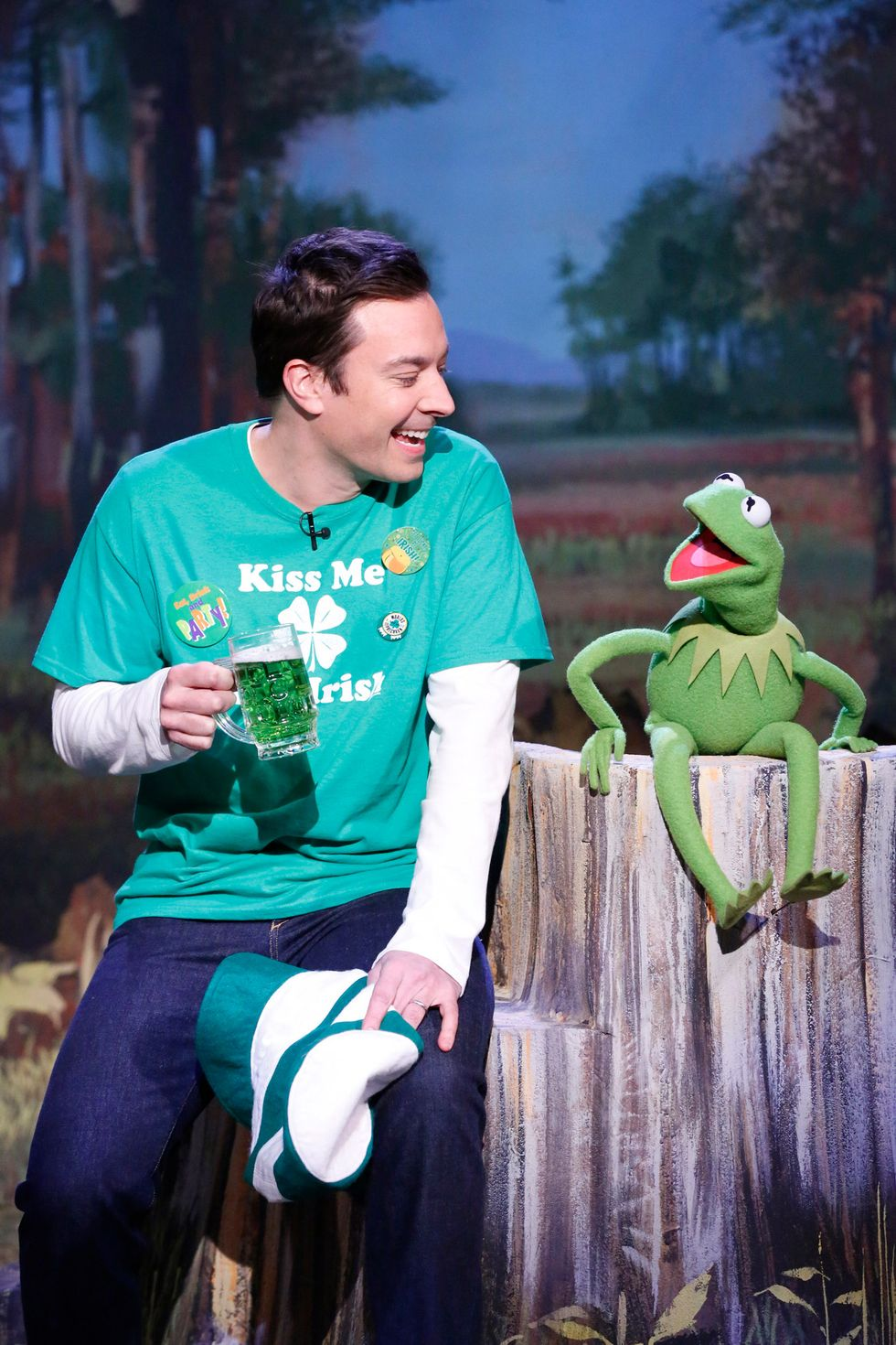 """Jimmy Fallon and Kermit The Frog sing """"It's Not Easy Being Green"""" on March 17,  2014."""