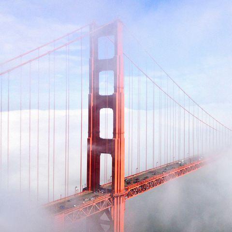 Cable-stayed bridge, Sky, Bridge, Water, Suspension bridge, Fog, Extradosed bridge, Line, Architecture, Cloud,