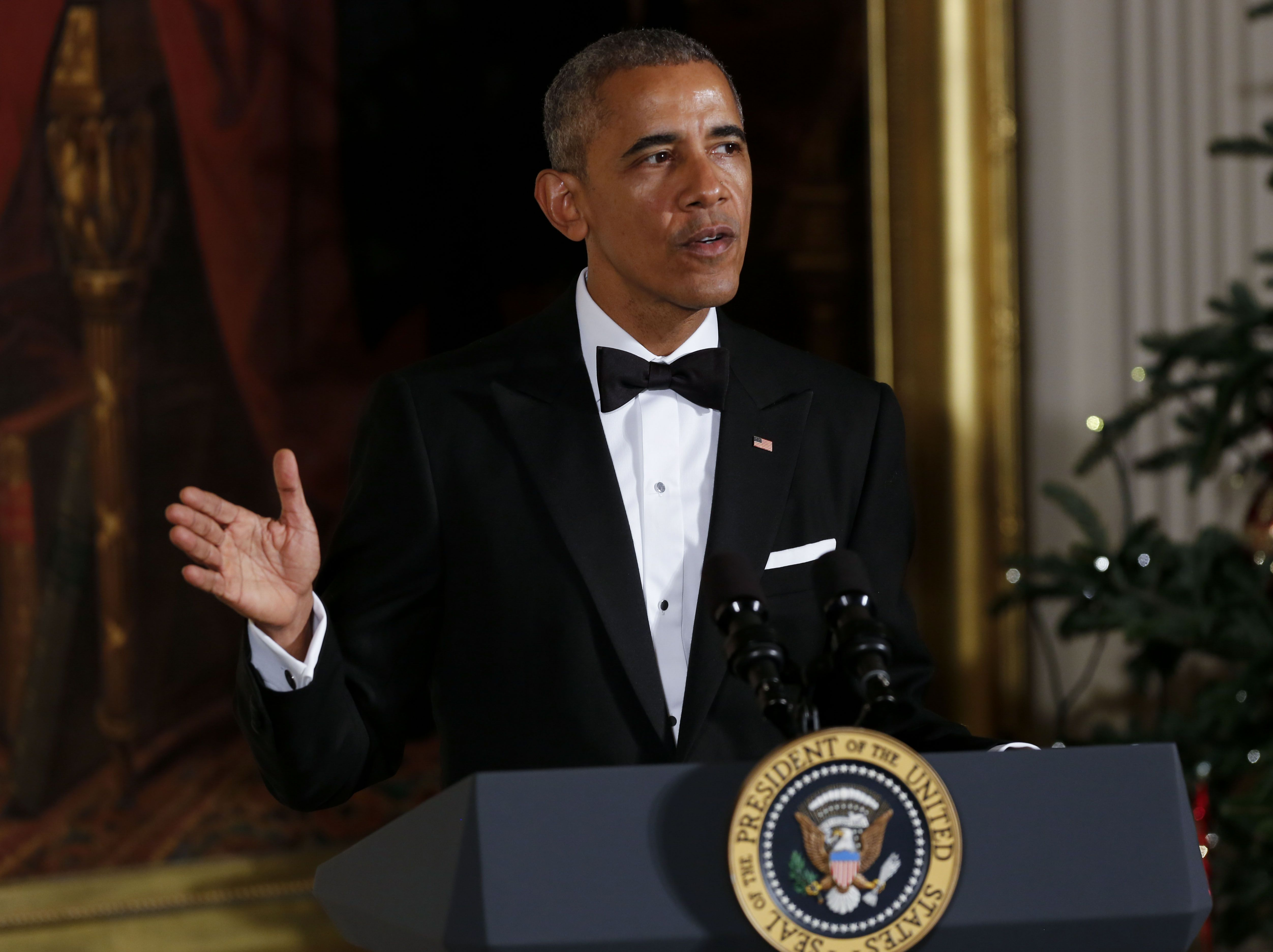 President Barack Obama at a ceremony for the 2016 Kennedy Center honorees on December 4, 2016.