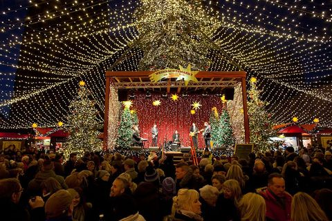 Crowd, Lighting, Event, Sky, Christmas lights, Tree, Stage, Christmas decoration, Christmas, Fun,