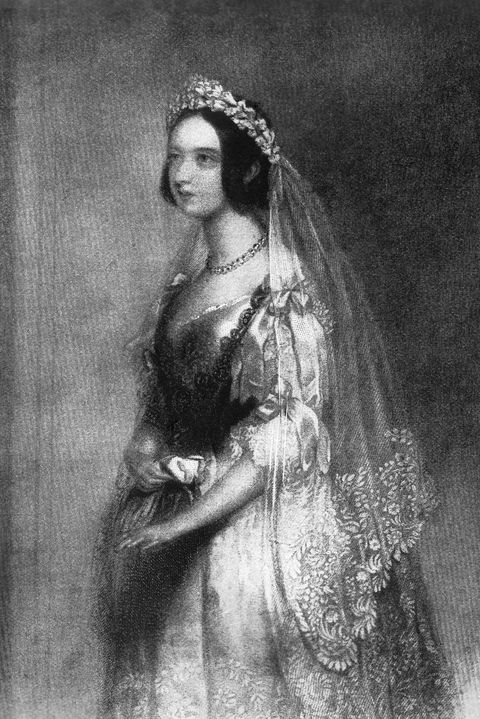 queen victoria, of the united kingdom, portrait in bridal gown, 1840 photo by universal history archiveuniversal images group via getty images