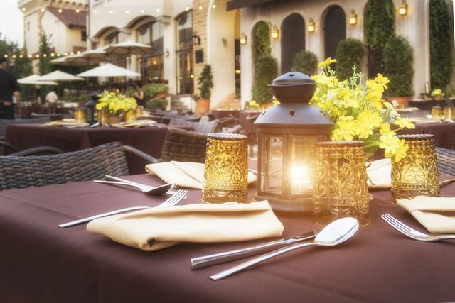 the close up table in outdoor restaurant with great view