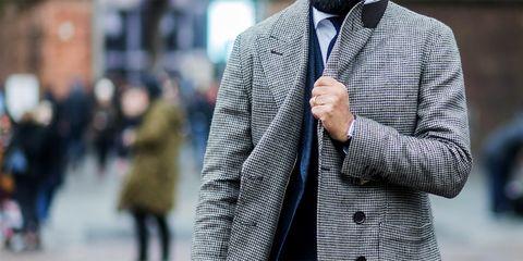 Street fashion, Clothing, Plaid, Blazer, Outerwear, Fashion, Suit, Overcoat, Jacket, Human,