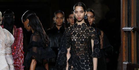 Fashion, Black hair, Hair accessory, Fashion design, Costume, Fashion model, Little black dress, Day dress, Haute couture, One-piece garment,