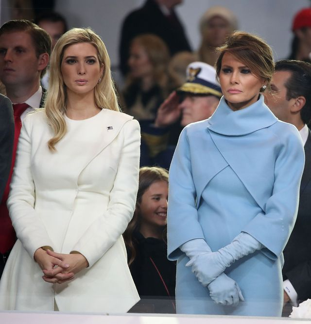 washington, dc   january 20 first lady melania trump r, stands with ivanka trump as a parade passes the inaugural parade reviewing stand in front of the white house on january 20, 2017 in washington, dc donald trump was sworn in as the nations 45th president today  photo by mark wilsongetty images