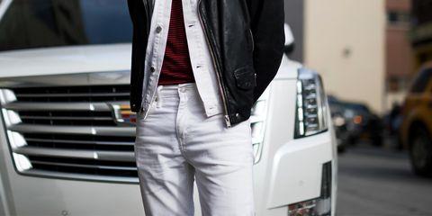 White, Clothing, Jeans, Street fashion, Jacket, Denim, Fashion, Leather, Blazer, Outerwear,