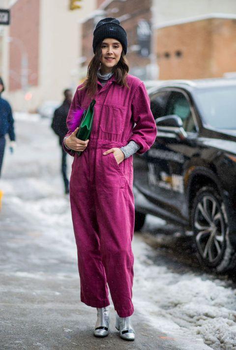 Street fashion, Clothing, Pink, Fashion, Purple, Magenta, Outerwear, Headgear, Suit, Winter,