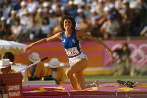 sara simeoni from italy during the women's high jump at the 1984 olympic games she won the silver medal   photo by gilbert iundtcorbisvcg via getty images