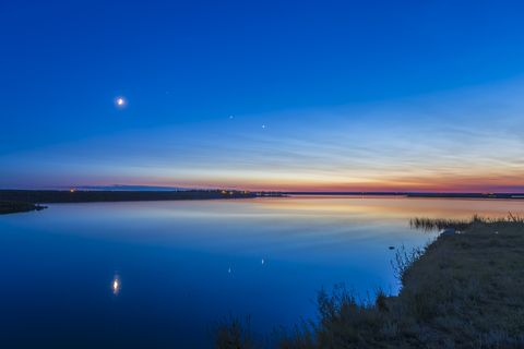 The evening planets of Venus (right) and Jupiter (left)