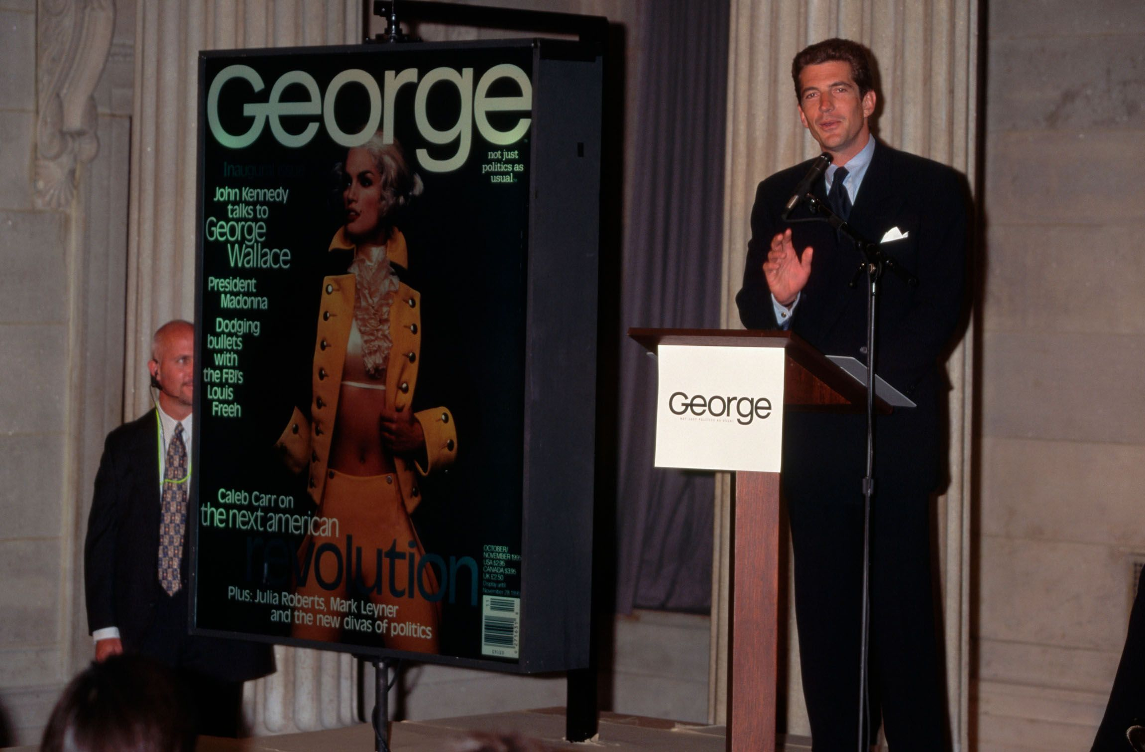 John F. Kennedy Jr. holds a press conference to announce the debut of his political magazine George on September 1, 1995.