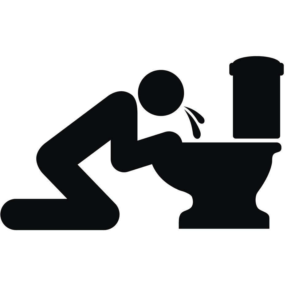Puking Toilet Icon on Flat Color Circle Buttons
