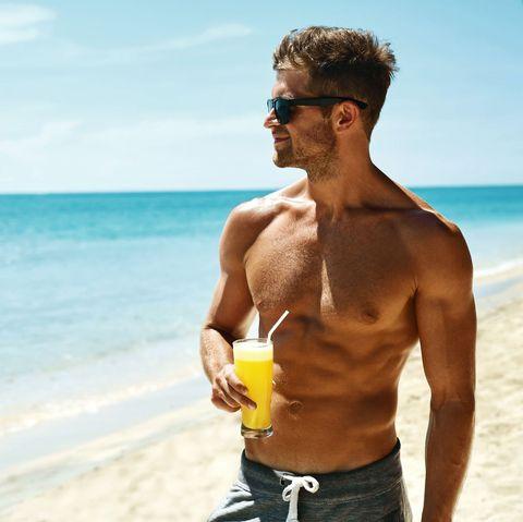 people on beach, barechested, vacation, summer, beach, muscle, fun, board short, chest, ocean,