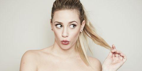 Hair, Face, White, Shoulder, Skin, Lip, Beauty, Eyebrow, Head, Hairstyle,