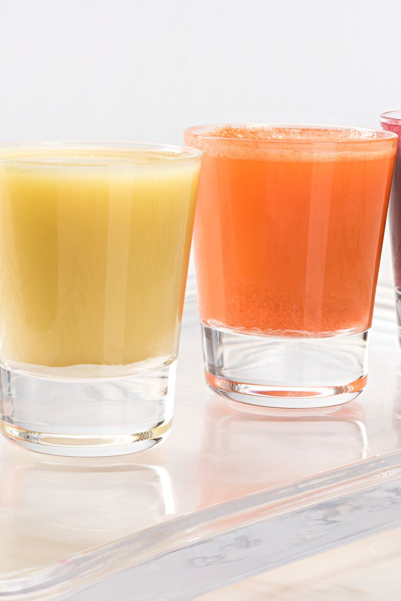 wheatgrass, ginger, carrot and beetroot juice shots