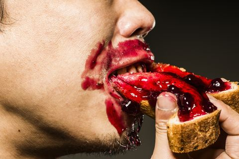Lip, Mouth, Neck, Eating, Food, Pomegranate, Close-up, Jaw, Flesh, Throat,