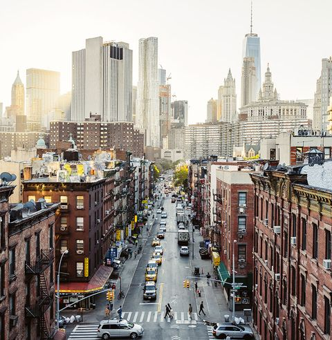High angle view of Lower East Side Manhattan Downtown, New York City, USA