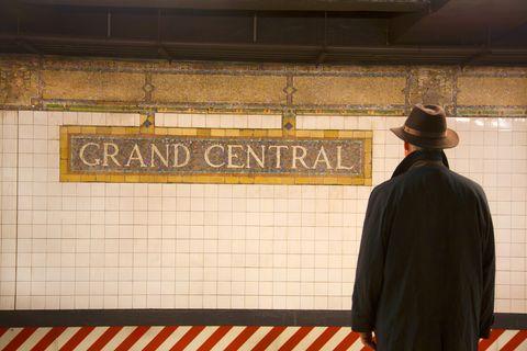 Man waiting for subway.