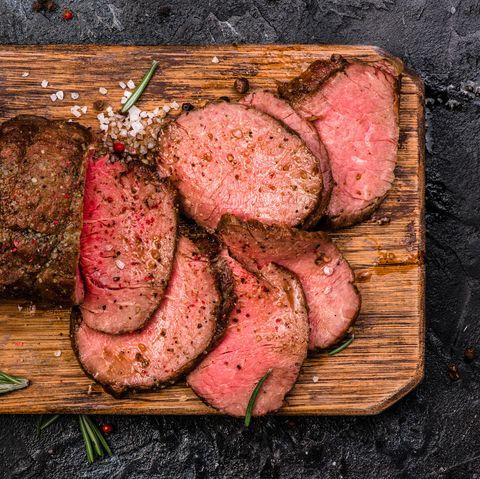 Dish, Food, Pastrami, Roast beef, Meat, Flat iron steak, Cuisine, Brisket, Red meat, Beef tenderloin,