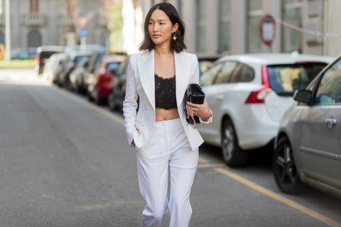 White, Street fashion, Clothing, Fashion, Snapshot, Outerwear, Footwear, Jacket, Jeans, Blazer,