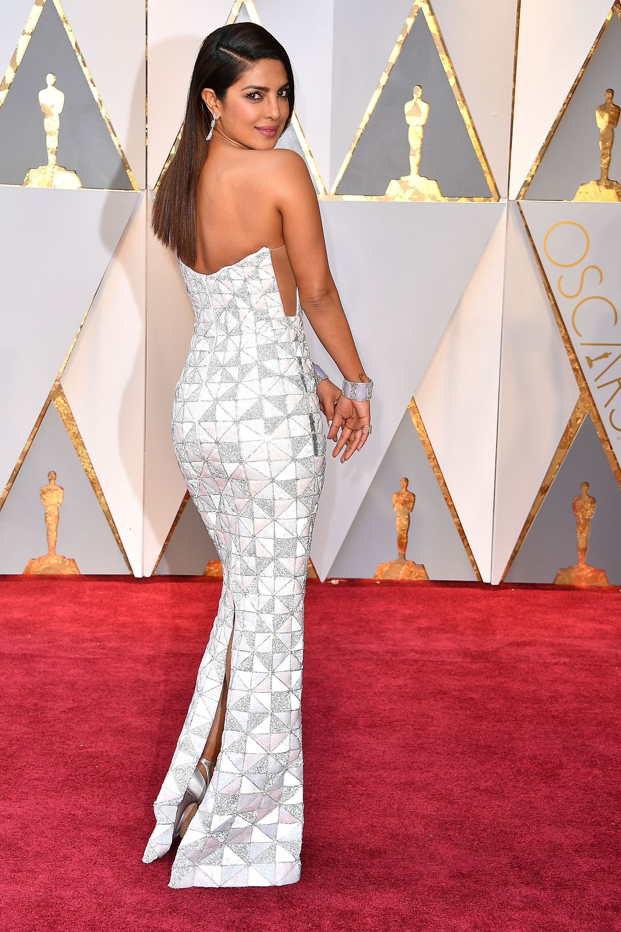 Priyanka Chopra, 2017 We can't tell whether this geometric Ralph & Russo dress looks better from the back or the front. It's that gorgeous, and nobody could wear it as well as Chopra.