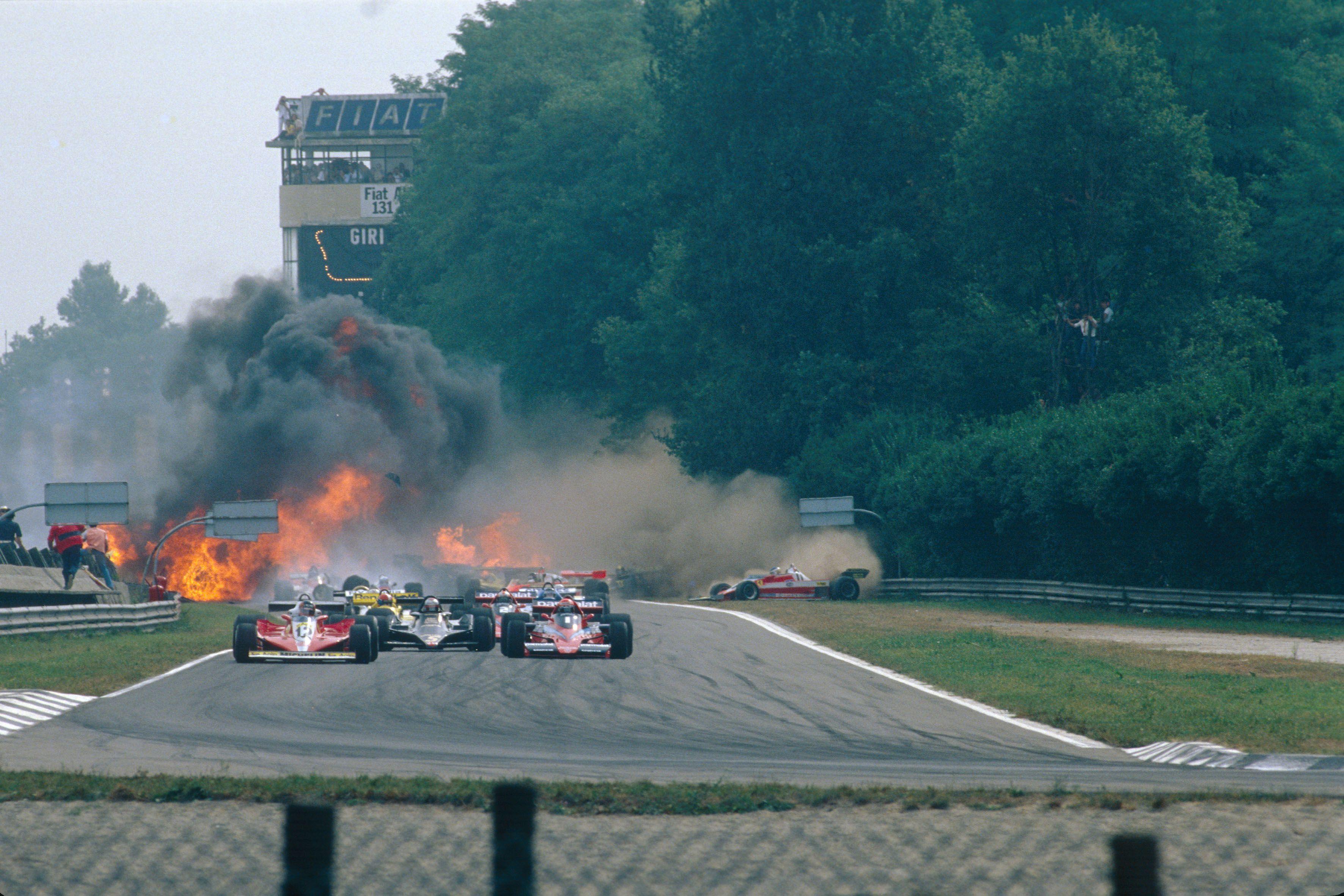 Formel 1, Grand Prix Italien 1978, Monza, 10.09.1978 Start Gilles Villeneuve, Ferrari 312T3 Niki Lauda, Brabham-Alfa Rom