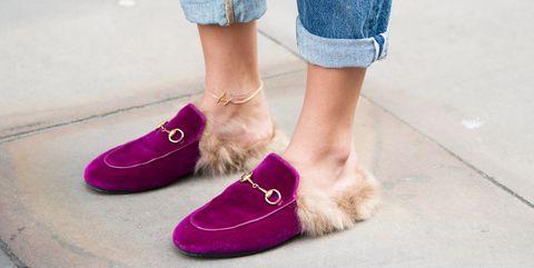 Footwear, Pink, Shoe, Purple, Leg, Red, Human leg, Ankle, Magenta, Jeans,