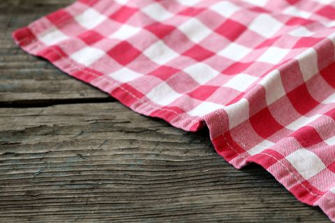 Tablecloth on a table.