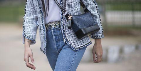 Clothing, Jeans, Street fashion, White, Denim, Outerwear, Blue, Fashion, Shoulder, Coat,