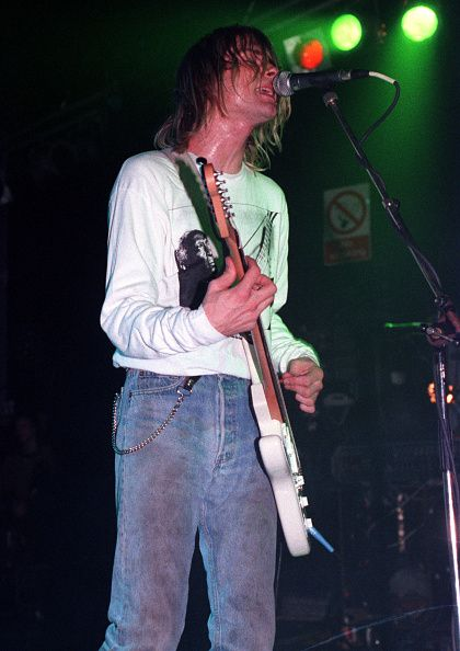 Kurt Cobain performs on stage at the Astoria Theatre, London, 5th November 1991.