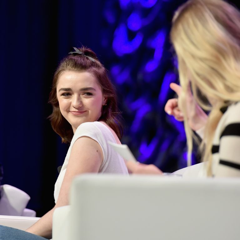 March 12, 2017 At the same event, Maisie gives a smirk to Sophie, who mimes something to her BFF (some kind of inside joke, probably). The drinky drinky motion?