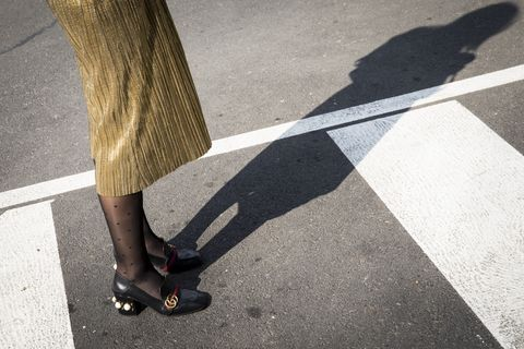 Human leg, Leg, White, Black, Shadow, Footwear, Shoe, Standing, High heels, Tights,