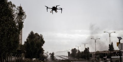 Drone armed with hand grenades over Mosul, 2017.